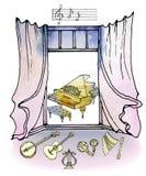 piano retro de la acuarela de la música de la ventana stock de ilustración