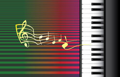 Piano roll and music notes. Illustration Royalty Free Stock Images