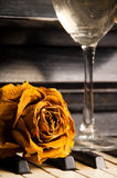 Piano with rose and wine Stock Photo