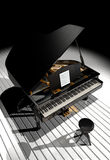 Piano on scene. A stool in front of a piano ready to be played under the scene lights royalty free illustration