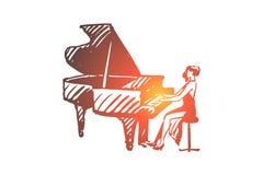 Piano, schrijver uit de klassieke oudheid, musicus, vrouw, prestatiesconcept Hand getrokken geïsoleerde vector stock illustratie