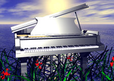 Piano by the Seaside. Piano in water stock illustration