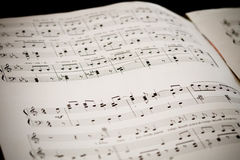 Piano Sheet with free place in the middle Stock Photos