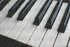 Piano with sheet music stock photography