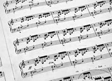 Piano Sheet Music. Sheet music for piano, black and white Stock Images