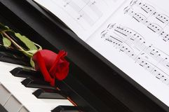 Piano Sheet Music with Rose Stock Photos