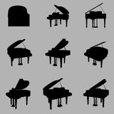 Piano silhouette set Royalty Free Stock Photography
