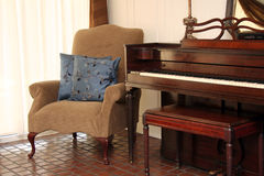 Piano in Sitting Room Stock Photography