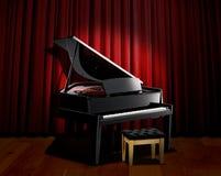 Piano spotlight with red curtain Royalty Free Stock Photos