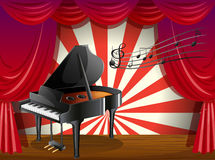 A piano at the stage with musical notes Royalty Free Stock Images