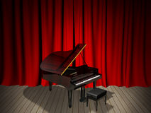 Piano on Stage Stock Photo