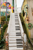 Piano Stairs. VALPARAISO - NOVEMBER 07: Piano stairs street art in Concepcion and Alegre districts of the protected UNESCO World Heritage Site of Valparaiso on stock images