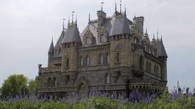 Piano statico di bello castello medievale, fiori blu al primo piano, giorno di estate, nessun vento video d archivio