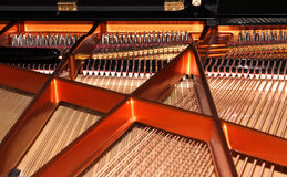Piano strings. Strings and dampers inside a worldwide wellknown austrian piano Royalty Free Stock Photos