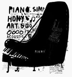 Piano. The symbolic image of a piano on white background Stock Image