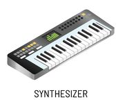 Piano or synthesizer electronic music playing isolated musical instrument vector illustration
