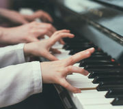 Piano teaching. Stock Images