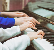 Piano teaching. Royalty Free Stock Photography