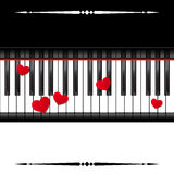 Piano template with hearts Stock Photography