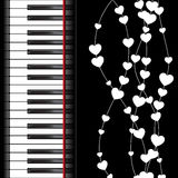 Piano template with hearts Royalty Free Stock Photos