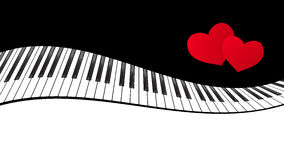 Piano template with hearts Stock Image