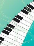 Piano Top Green Background. Illustration of design top view piano with music note line green background. Music on the sky Royalty Free Stock Image