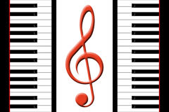 Piano and treble clef. Keys of the piano and a treble clef Royalty Free Stock Photo