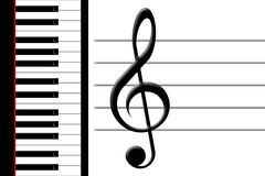 Piano and treble clef. Keys of the piano and a treble clef Stock Photos