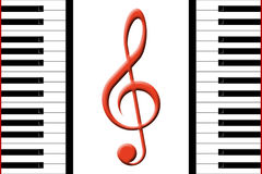 Piano and treble clef Royalty Free Stock Photo