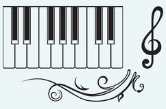 Piano and treble clef Stock Photo