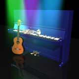 Piano trumpet and guitar. On a black background Royalty Free Stock Photos