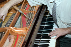 Piano tuning. Man's hands of the adjuster of grand pianos behind work Stock Photos