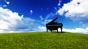 Piano in un prato Fotografia Stock Libera da Diritti