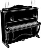 Piano Vector 05. Antique Classic Piano High Detail Illustration Vector Stock Photos