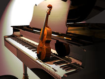 Piano and Violin concert. A violin on the keyboard of a piano, illuminated by a vertical projector. Announcement of a piano and violin concert Royalty Free Stock Image