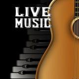 Piano vivo de la música de la guitarra Fotos de archivo libres de regalías