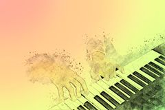 Piano on Watercolor painting background and Digital illustration. Abstract piano on Watercolor painting background and Digital illustration brush to art royalty free stock image