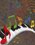 Piano Wavy Border with 3D Keys and Colorful Music. Wavy Abstract Piano 3D Keyboard with Rainbow Colors Dancing Music Notes Textured Background Illustration stock illustration