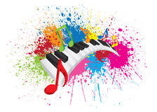 Piano Wavy Keyboard Paint Splatter Abstract Illustration. Piano Keyboard with Black and White Wavy Keys and Colorful Music Notes in 3D Paint Splatter Abstract vector illustration