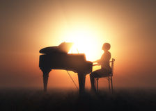 The piano. Woman playing the piano. 3d render Stock Photography
