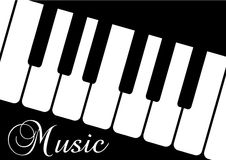 A piano and the word Music on blac Royalty Free Stock Photography