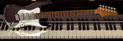 Piano y guitarra foto de archivo