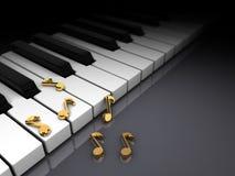 Piano y notas Imagen de archivo libre de regalías