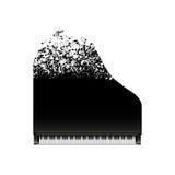 Pianoforte a coda nero con le note di volo, vista superiore Immagine Stock Libera da Diritti