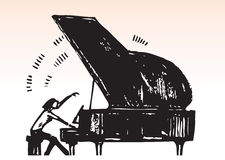 Pianoist. Hand draw illustration of a lady Pianoist playing piano Stock Photo