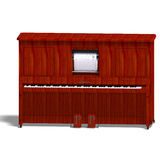 Pianola. Rendering of an old piano with Clipping Path and shadow over white vector illustration