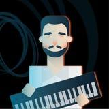Pianoman w zespole rockowym obraz royalty free