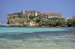 Pianosa island palace on the blu sea Royalty Free Stock Images