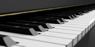 Pianosleutels op zwarte piano 3D Illustratie Stock Foto