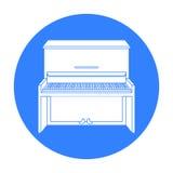 Pianosymbol i svart stil som isoleras på vit bakgrund Illustration för vektor för musikinstrumentsymbolmateriel Royaltyfri Bild